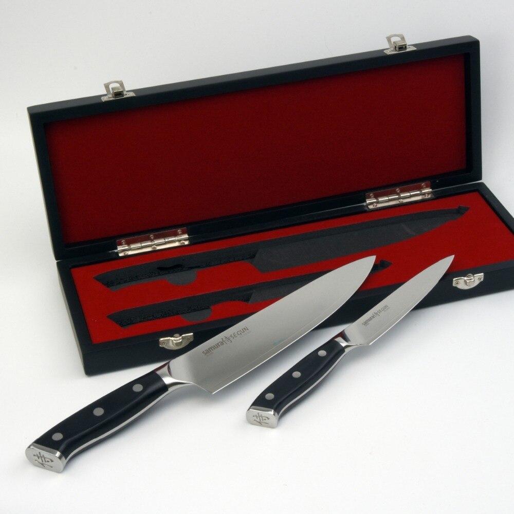Набор ножей из 2 Шт. 8 Дюймов Нож Шеф-Повара и 5 Дюймов Нож кухонный универсальный 3 Слоя AUS-10 японская сталь