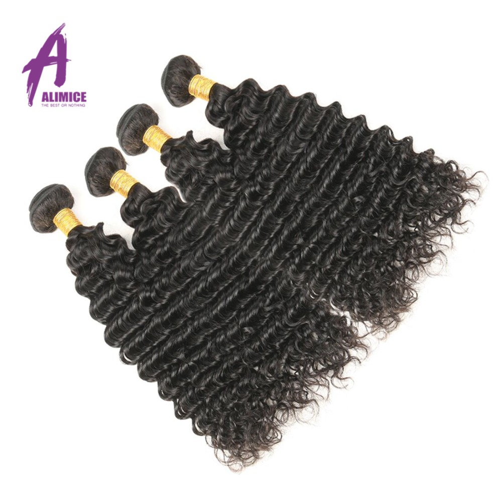 Malaysisk Deep Wave Human Hair Weave Bundler Hair Extension Alimice - Menneskelig hår (for svart)
