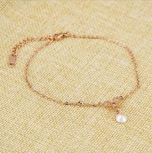 Rose Gold Crystal Anklet for Women