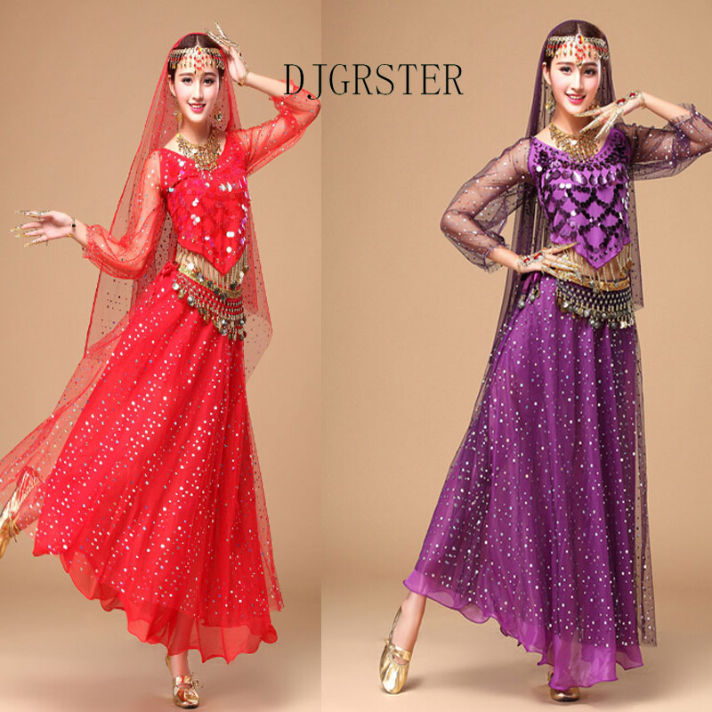 DJGRSTER Bellydance Costume Bollywood Costume Indian Dress Bellydance Dress Womens Belly Dancing Costume Set Tribal