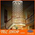 Лучшая цена современные вилла дуплекс гостиной K9 хрустальная люстра лестница лампа роскошные длинные Droplight инженерные лампы отель
