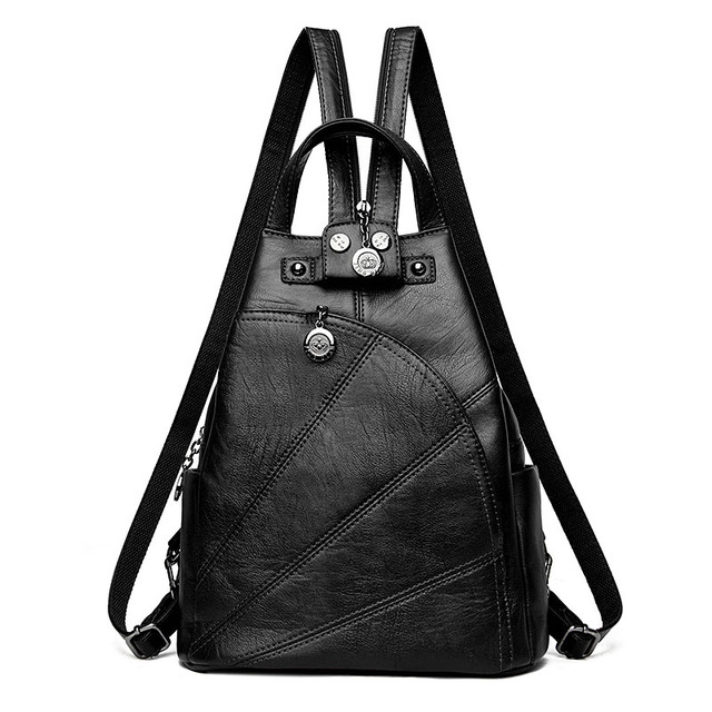 2019 Women Anti-theft Leather Backpacks Female  Ladies Backpacks For School Retro Sac a Dos Femme Female School Shoulder Bags 5