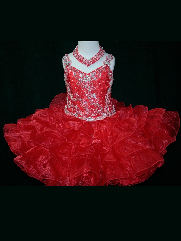 Little Rosie Toddler Ball Gown   Flower     Girl     Dresses   With Spaghetti Strap Beaded Organza Short Pageant   Dresses   Zipper Up
