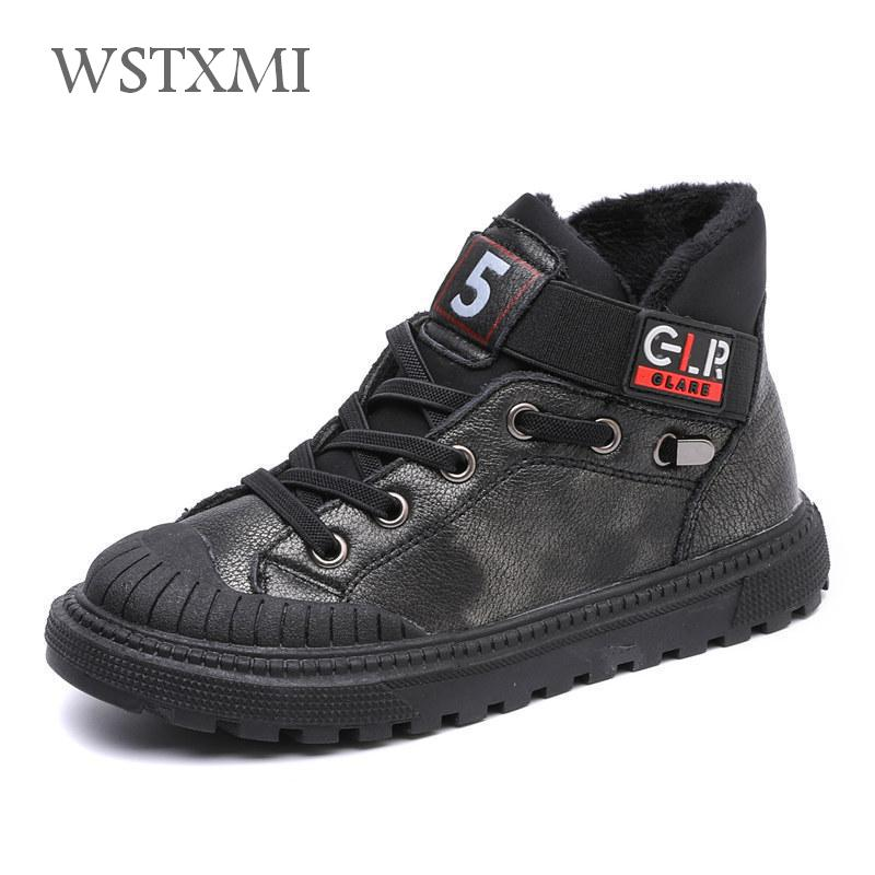 New Autumn Winter Boys Boots Kids Shoes For Children Sneakers Genuine Leather Girls Fashion Ankle Martin Boot Plush Warm Running