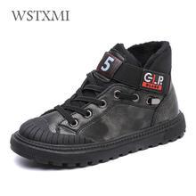 Yeni sonbahar kış erkek botları çocuklar için ayakkabı çocuklar Sneakers hakiki deri kızlar moda ayak bileği Martin çizme peluş sıcak koşu