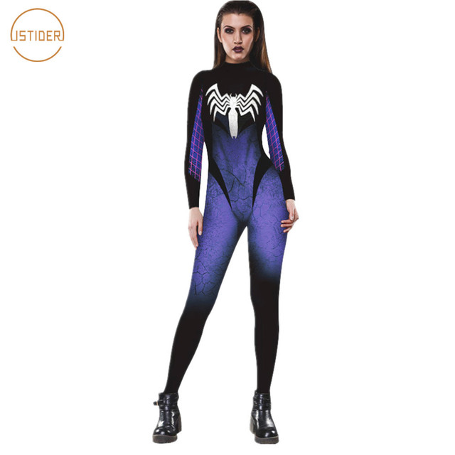 590eac7bb1 ISTider New Arrival Halloween Sexy Tight Jumpsuit Black Blue Spider-Man  Venom Print 3D Romper Women Long Sleeve Slim Bodysuit