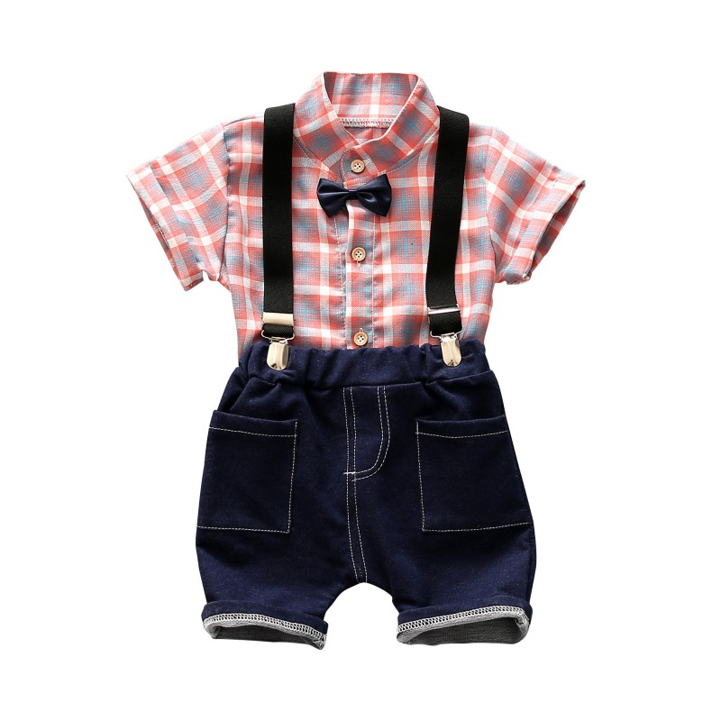 Summer Toddler Baby Boys Clothing Sets Short Sleeve Bow Tie Shirt+Suspenders Shorts Pant ...