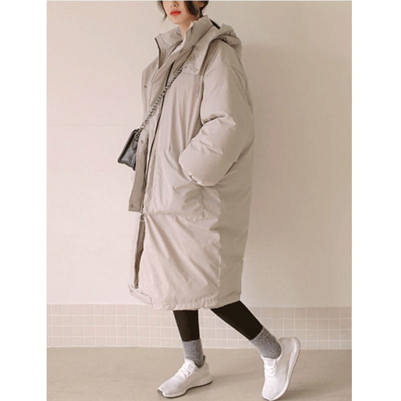 Женские зимние куртки размера плюс, повседневное пальто, женская парка с длинным капюшоном, утолщенная теплая Женская парка с хлопковой под... - 3