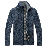 2019 на весну и зиму Для мужчин свитер пальто с искусственным мехом шерстяной кардиган свитер куртки Для мужчин молния вязаный толстый слой П...