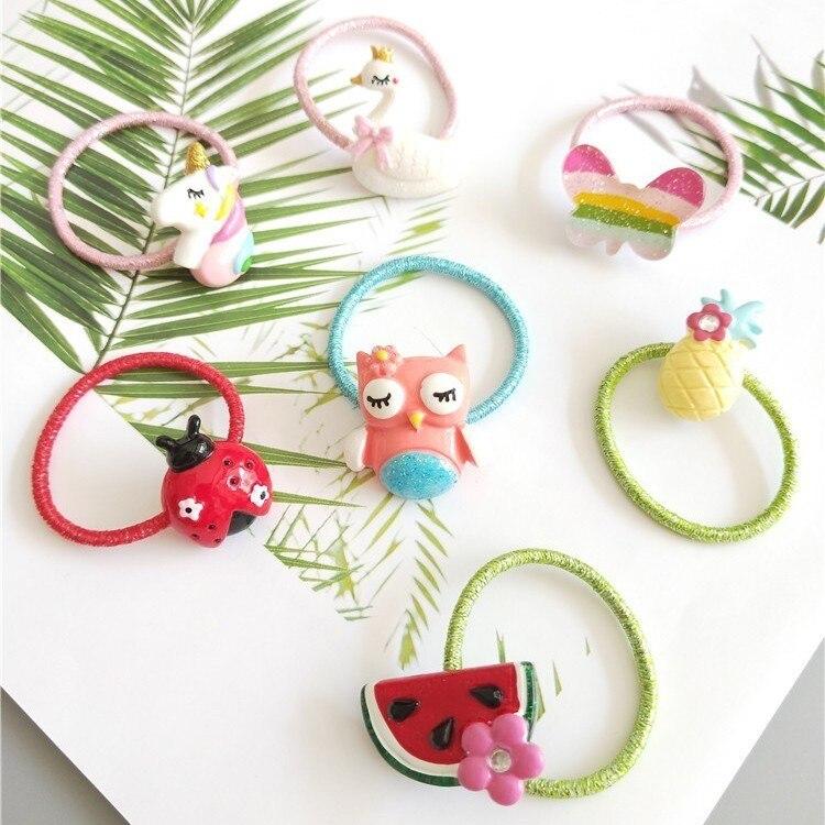 1PCS Cute Cartoon Swan Butterfly Owl Princess Headwear Kids Elastic Hair Bands Baby Headdress Children Ropes Girls Accessories