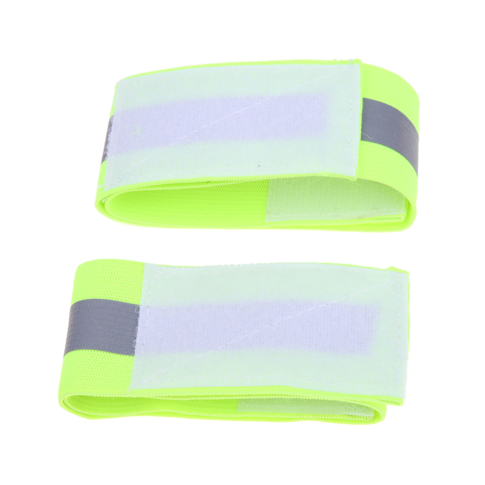 2pcs Reflective Tape Warning Band Belt Outdoor Running Fishing Cycling Arm Leg Straps Sa ...
