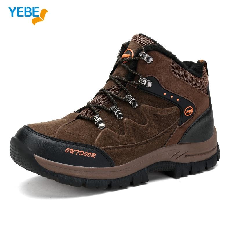 YEBE Winter Warm Outdoor Sport Tactical Shoe Men Hiking Shoes Waterproof Sneaker Climbing hunting Boots Mountain Trekking hombre size 36 44 men women hiking shoes sport waterproof leather outdoor shoes mountain climbing boots shoes botas zapatos hombre hw65