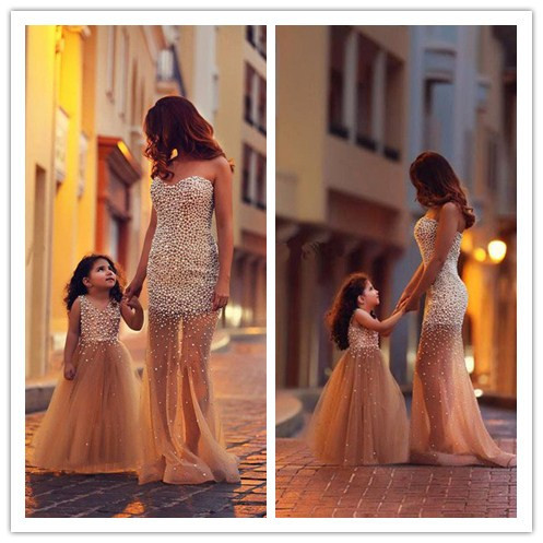 Pageant Dresses Girls 2014 New Princess Floor Length Tulle Pearls Flower Girl Party Kids - Lovestory Dress Store store