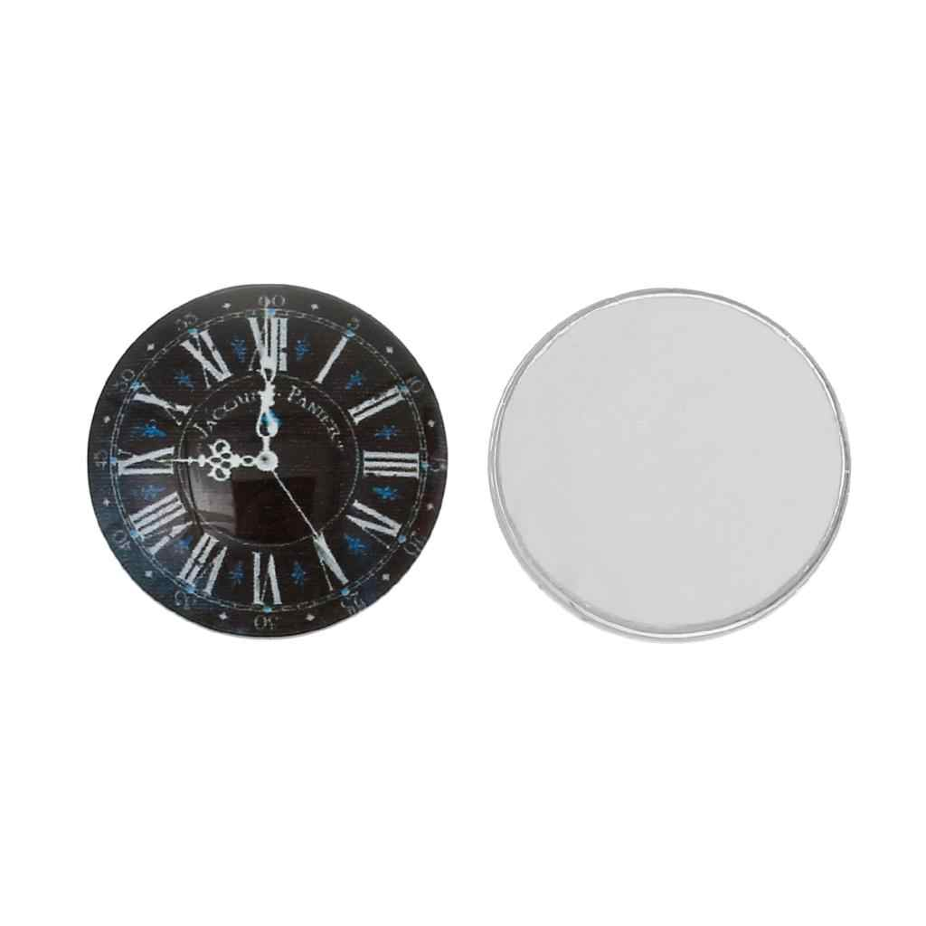 "DoreenBeads Glass Dome Seals Cabochons Embellishments Findings Round Flatback Black Clock Pattern 20mm( 6/8"") Dia, 2 PCs"