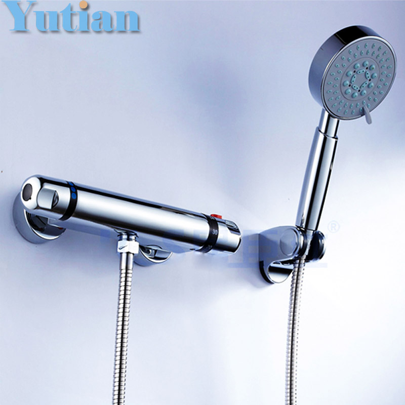 Free shipping luxury wall mounted thermostatic shower faucet set mixer tap, thermostatic valve + hand shower YT-5302 chrome finish dual handles thermostatic valve mixer tap wall mounted shower tap