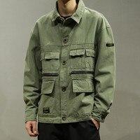 Mens Vintage Jeans Jacket Male Harajuku Multi Pocket Bomber Jackets Autumn Fashion Casual Cargo Jacket Windbreaker Ds50272