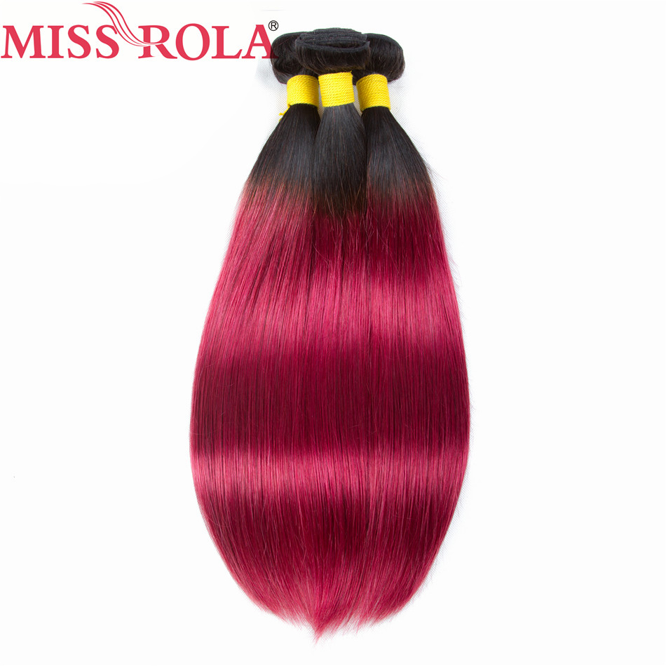 Miss Rola Hair Pre-colored Ombre 3 Bundles T1B/Red Color Human Brazilian Hair Weaving Non-remy Hair Extensions Straight Pale