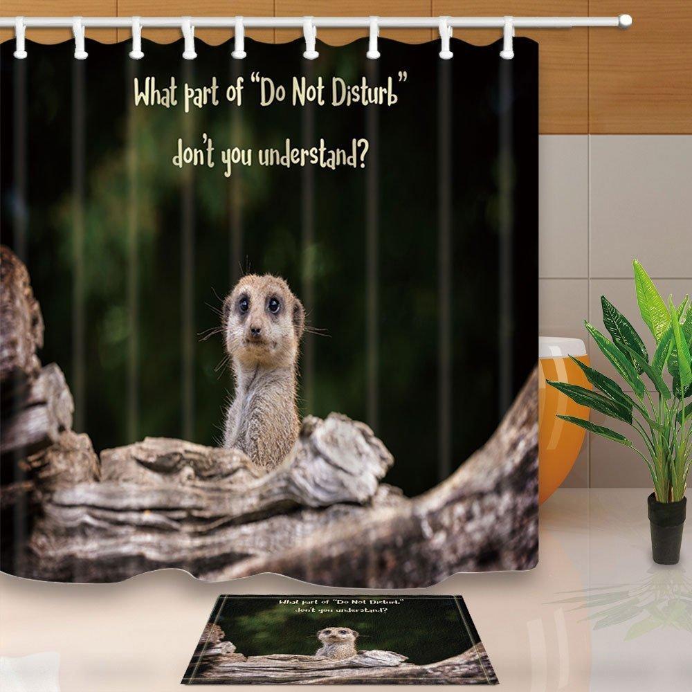 Waterproof Fabric Dinosaur Waterfall Lake Bathroom Decor Shower Curtain Hook Mat