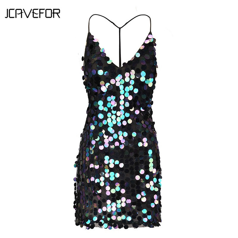 Detail Feedback Questions about 2018 Summer Women Sexy Deep V Neck Sparkle  Shimmer Spaghetti Sequin Strap Dress Backless Party Clubwear on  Aliexpress.com ...