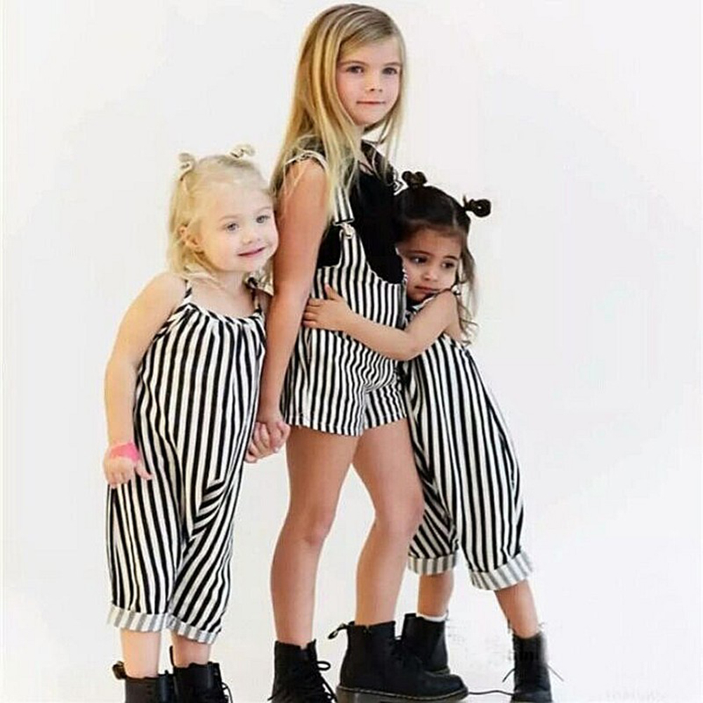 Summer Baby Girls Harem Rompers Sleeveless Striped Pants Romper Jumpsuits Strap Pants Toddler Baby Girl Jumpsuit Overalls girls in pants third summer