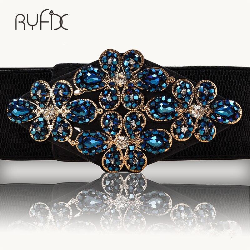Female Braided Belt Rhinestone Elastic Women Belt Colorful Crystal Decorated Strech Waist Strap Correa Cummerbund BL227