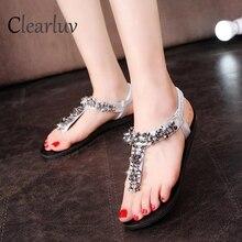 New designer rhinestone sequin design female summer flat fashion large size beach womens shoes 35-39 sandals C0674