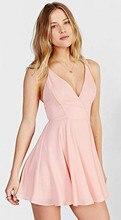 2016 günstige Rosa V-ausschnitt Homecoming Kleider mit Spaghettibügel Ärmellose Kurze Cocktail Prom Party Kleider mit Kreuz Zurück