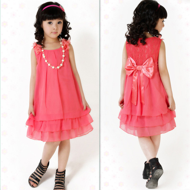 Size 110 160 Teenager Girls Clothes Sweet Pink Red Teens Dresses Summer Princess Bow Dress With Pearl Necklace