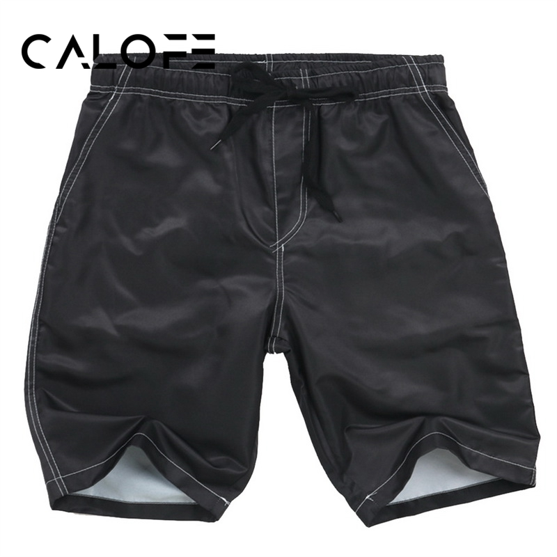 CALOFE Surfing Mens Solid Color Shorts Knee Length Swimming Short Pants Quick Dry Quality Trousers Swimming Trousers Trunks