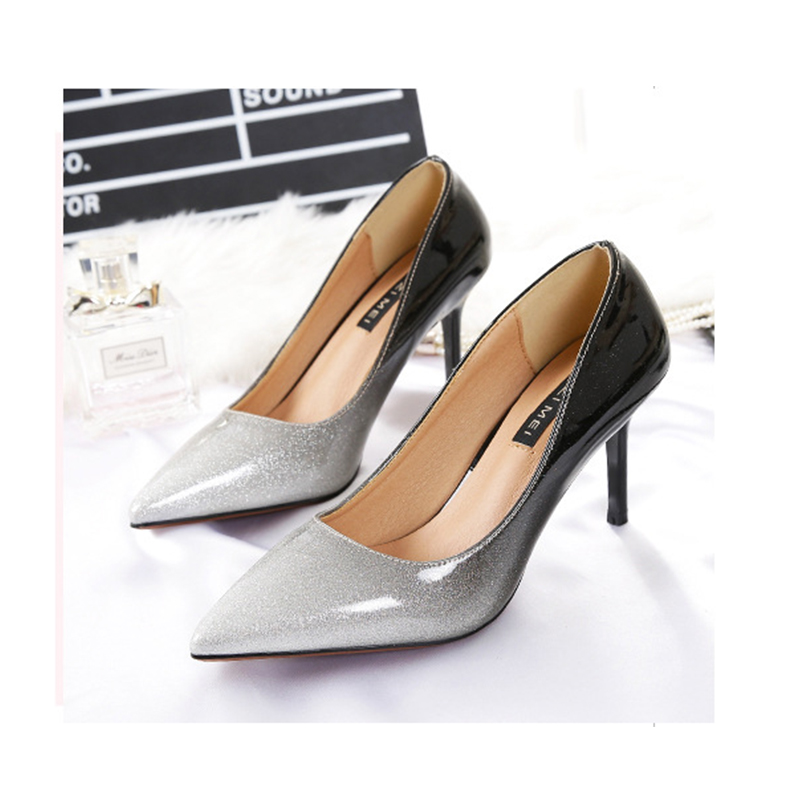 ФОТО Fashion Pointed Toe Leather Women Pumps Sexy Mixed Color High Heels Shoes Woman Casual Spring Autumn Slip-on Party Wedding Shoes