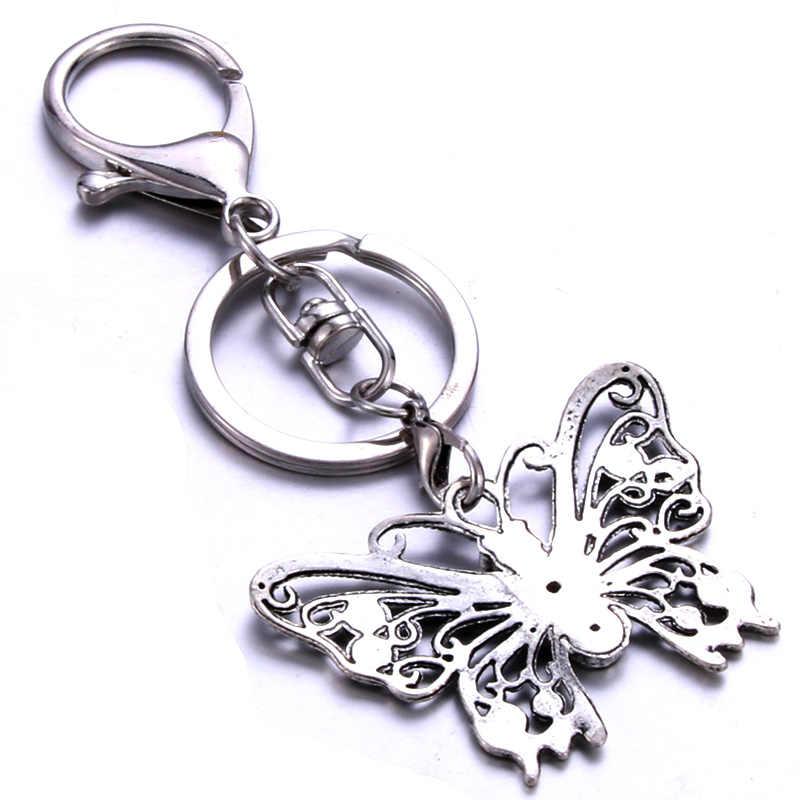 Personalizado forma de borboleta chaveiro dom de aço inoxidável handmade personalizado privada para amantes amigos uma variedade de estilos
