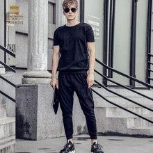 Fanzhuan Бесплатная Доставка Новая мода случайные 2017 мужской мужской Летней с короткими рукавами футболка девятый брюки набор костюм 711027 черный тонкий