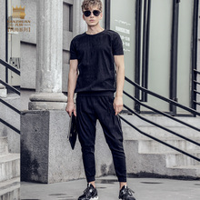 Fanzhuan Free Shipping New fashion casual 2017 male Men's Summer short sleeved t shirt ninth pants set suit 711027 black slim