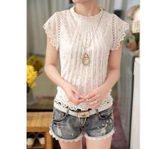 Floral Lace Raglan Sleeve T-shirt Casual Women Short Sleeve T shirt Round Neck 2019 Summer White Elegant OL Style  Fit Tops new lace raglan sleeve keyhole tee