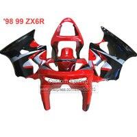 ABS Motorcycle fairings for Kawasaki zx6r 98 99 red black 1998 1999 Ninja 636 zx 6r fairing kit xl13