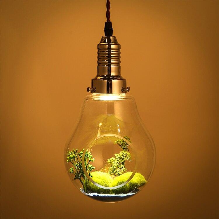 Creative Verre Plantes Grand Ampoule Plante Verte Pendentif lampe Restaurant Individuels Spotlight Pastoral Décoratif Pendentif Lumières