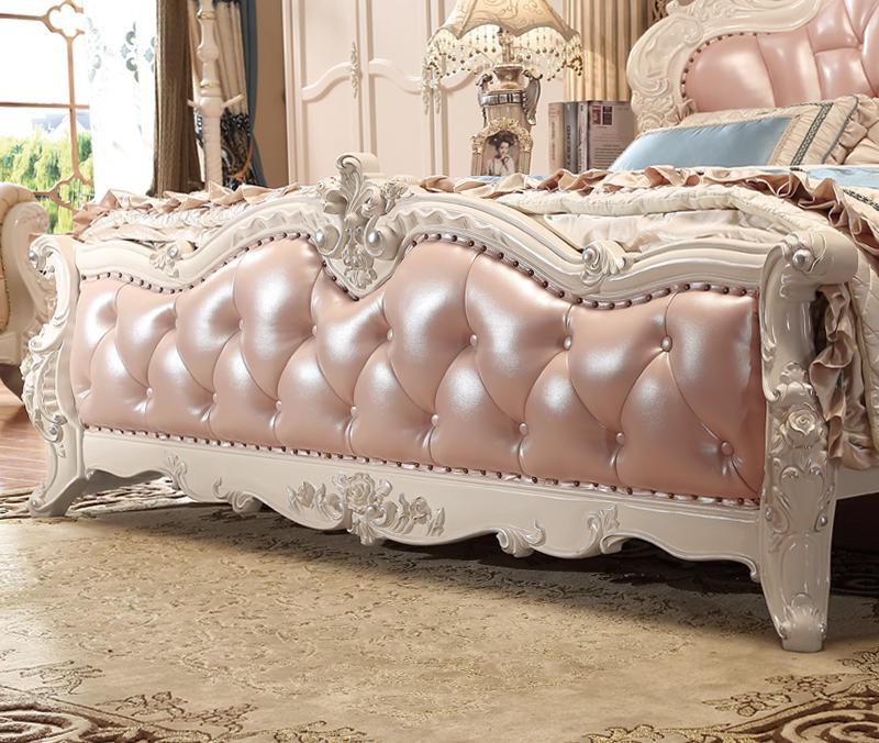 Bois Massif Couleur Rose Style Français De Luxe Chambre Meubles Ensembles  Lit En Cuir Dans Ensembles Chambre à Coucher De Meubles Sur AliExpress.com  ...