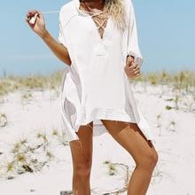 Бикини пляжное платье туника парео женский Восточный халат новая хлопковая рубашка с длинными рукавами Размер Сексуальная Пляжная накидка парео