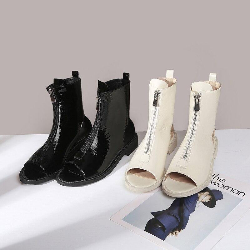 New Shoes bassi Tacchi Stivali Patent Donna Black Toe Fashion Primavera Kiss 2019 White Pu Wet spessi Donna Leisure Stivaletti Peep Tg0Spqx