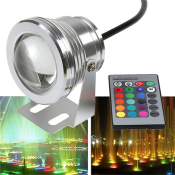10W DC12v underwater RGB Led Lights Waterproof IP68 fountain&Swimming pool Lamp 16 color change with 24key IR Remote controller