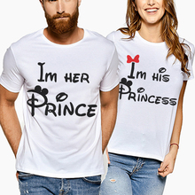 New Love Couple Summer Funny Women Men Cotton t Shirt Lover Tee Clothing Im Her Prince Letter Print Korean Kawaii 2019
