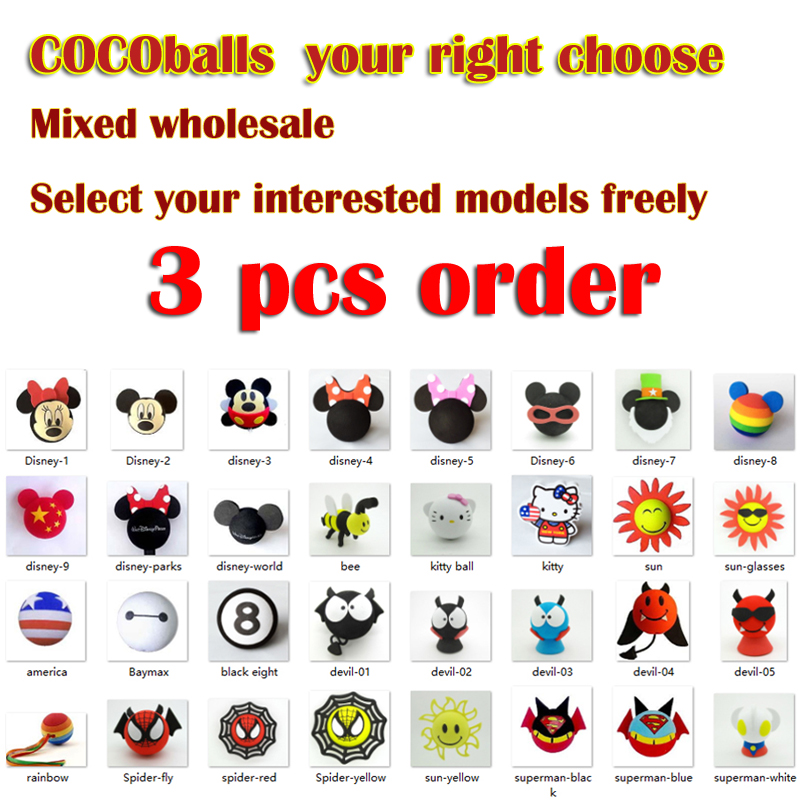 Cocoballs 3pcs Car  Antenna Ball Aerial Balls Toppers Cartoon Car Roof Decoration For Cars Aerial Topper Balls