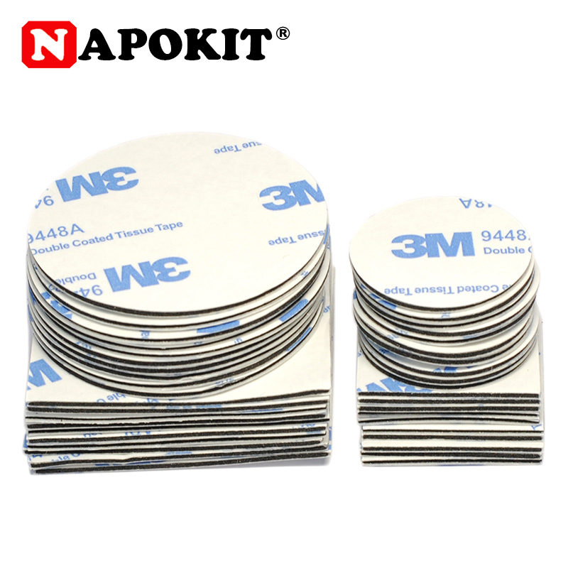 10pc 20mm 30mm 50mm Round Square 1mm Thickness Strong 3M Double-sided Adhesive Tape Car Sticker For Logo Ornamen Emblem Home Use