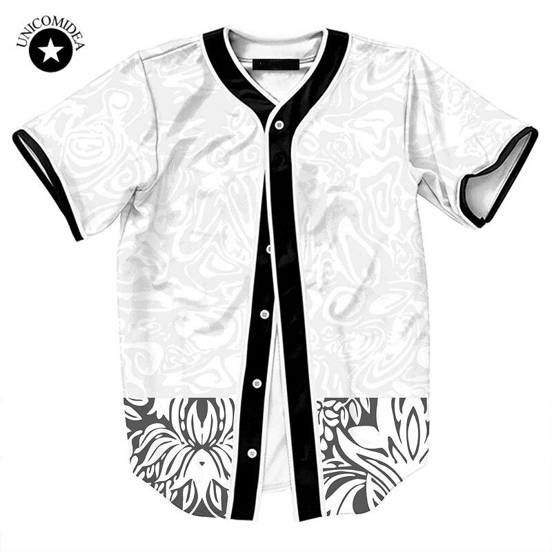 2018 D'été Hommes Chemise Imprimé floral Baseball Jersey Casual Camisa Masculina À Manches Courtes Hommes Chemise Casual Vêtements Pour Hommes Dropship