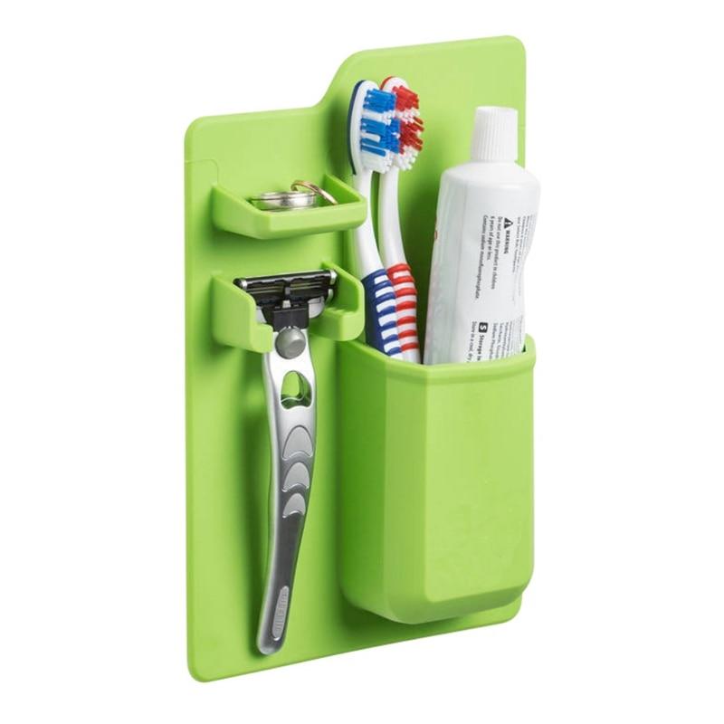 Acquisitions Silicone Organizer Bath Powerful Toothbrush Holder Toothbrush holder Silicone for Mirror Bathroom shower