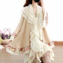 Mori Girl Лолита сладкий принцесса Кардиган Куртка с расклешенными рукавами кружева цветочные для женщин вязаный длинный кардиган Foulards Femme хиппи бохо