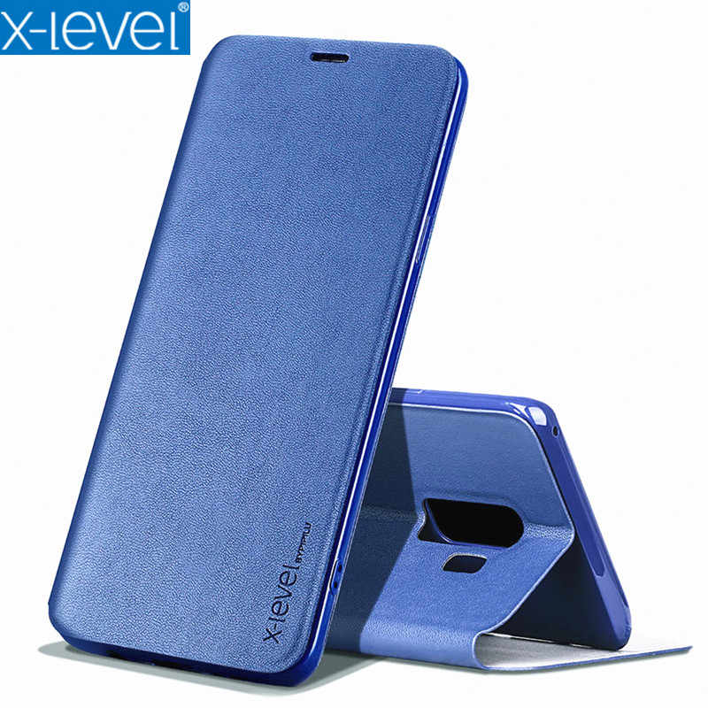X-Level Ultra Thin Leather TPU Stand Phone Case For Samsung S10 Plus S9 S8  Protective Flip Holder Cover For A10 A20 A50 Note 9
