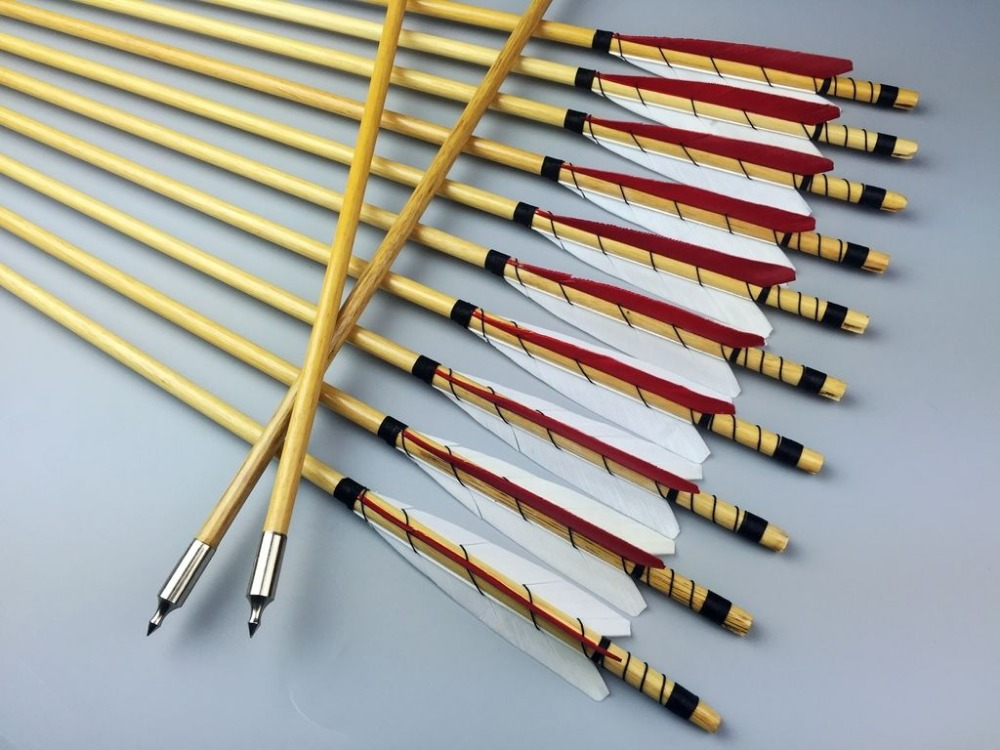 12pcs 32 Handmade Wood arrows Turkey feather Traditional Arrows Hunting Archery