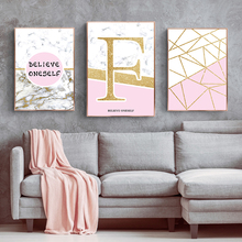 Marbled Gold Geometric English Modern Abstract Decorative Painting Poster Wall Art Canvas Home Picture Decor