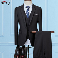 2018latest three piece solid color men's suit prom dress slim version 3 piece groom men's suit custom suit jacket large sizeS 5X